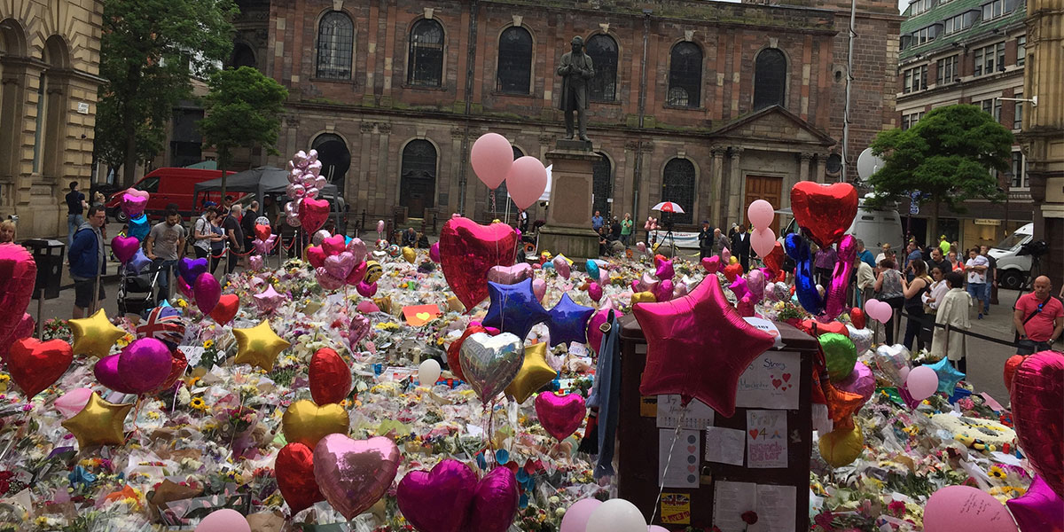 Floral tributes in St Annes Square Manchester