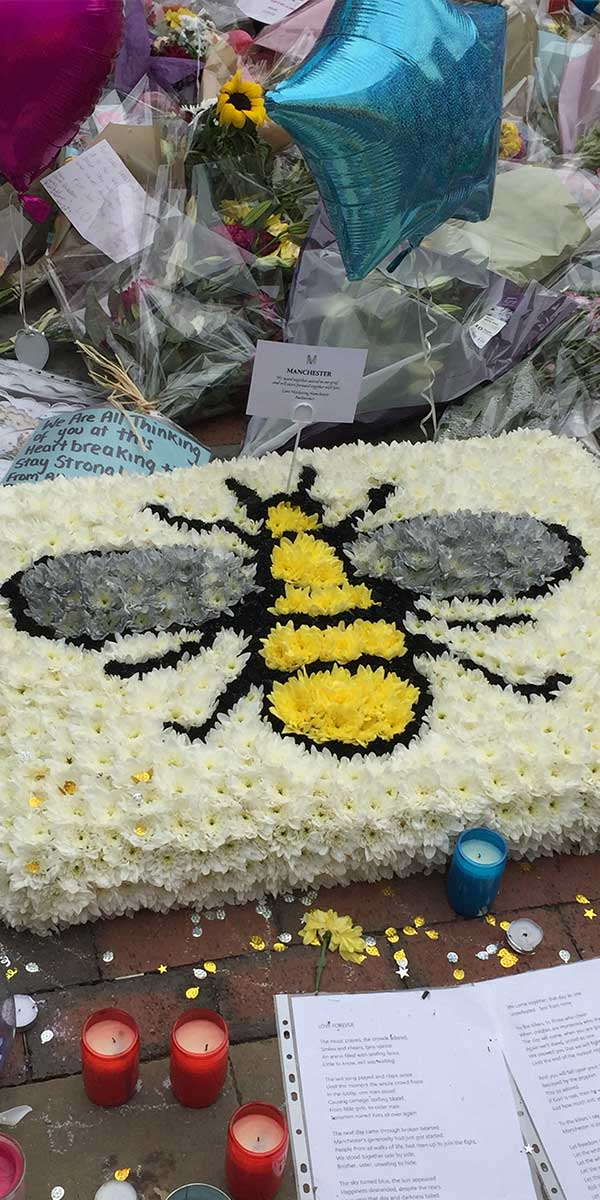 The manchester bee floral tribute to the victims of the manchester bombing