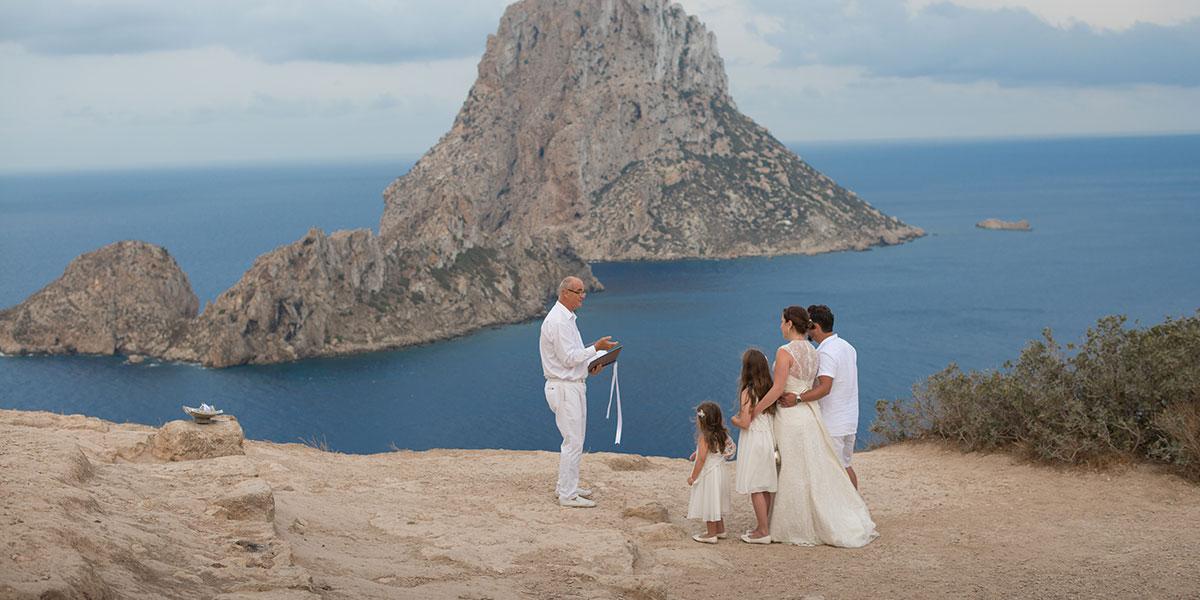 wedding ceremony at Es Vedra, Ibiza