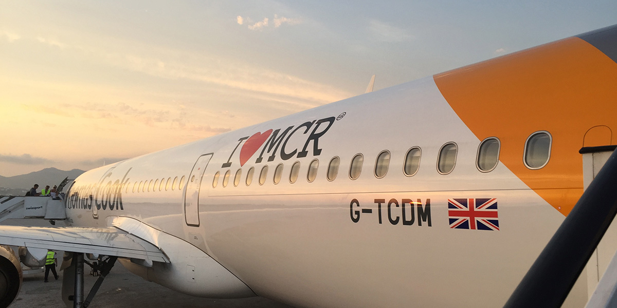 Thomas Cook aircraft with I love Mcr logo on side