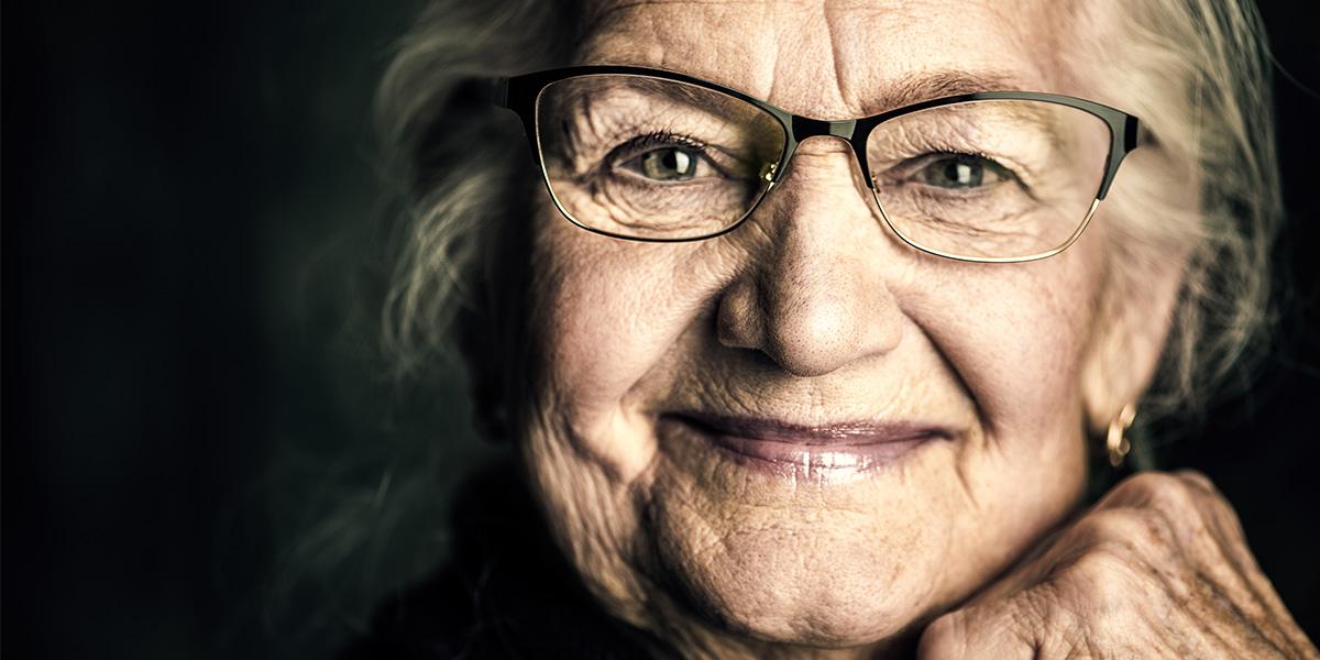 A smiling older lady
