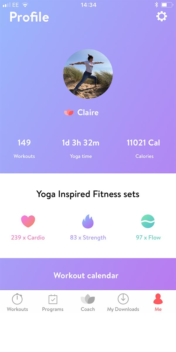 asana rebel yoga app personal profile screen