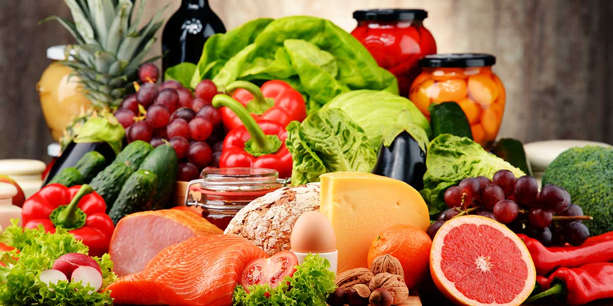 a selection of food for a healthy diet