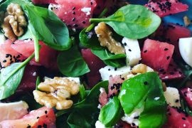 Feta Watermelon and walnut salad