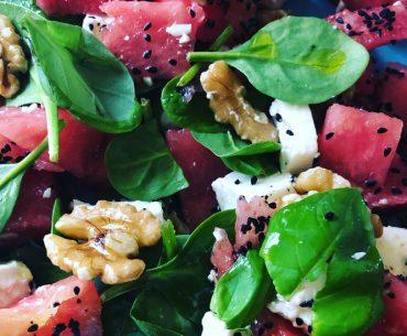 Feta Watermelon and walnut salad