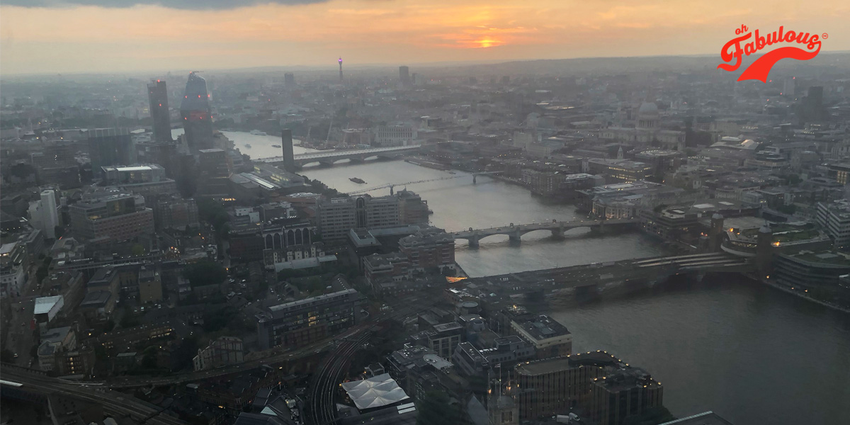 The view from The Shard of the River Thames and her bridges at dusk